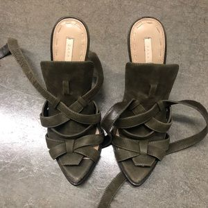Zara olive sandals high heels 7.5